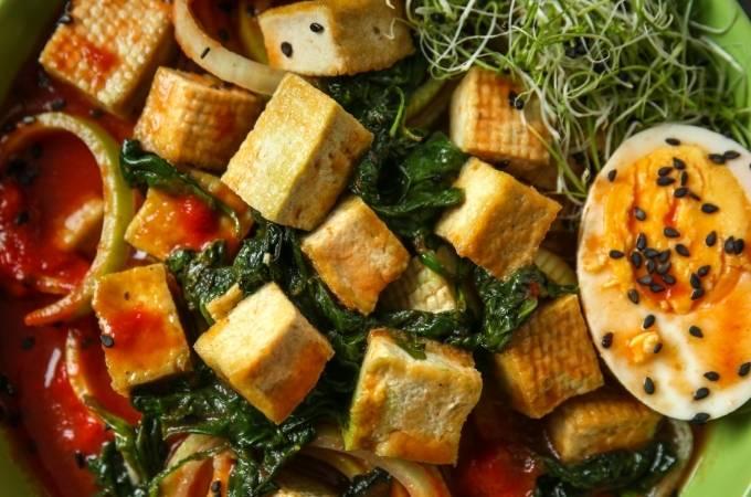 Tasty tofu and onions
